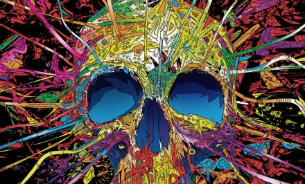 Psychedelic Skull Wide Desktop Background