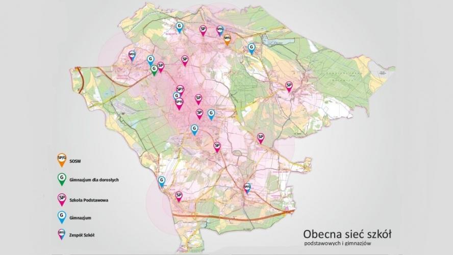 Obecna sieć szkół podstawowych i gimnazjów